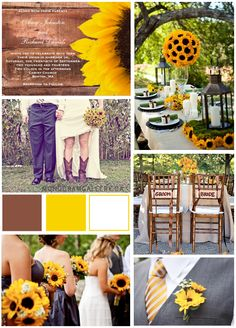 Rustic Sunflower Wedding Inspiration Board and Wedding Invitations on the MonogramGallery.ca