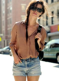 shorts and a camel blouse