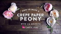 Watch this video for inspiration and ideas on how to make  gorgeous Crepe Paper Peony. @LiaGriffith.com