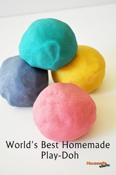 World's Best Homemade Play-Doh. One comment suggests using baby oil instead of cooking oil so that the play-doh keeps longer. Also, store in fridge and add flavored extracts (like strawberry) for a nice smell.