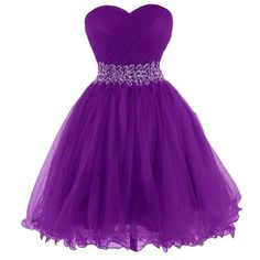 Queensroyal Short Strapless Beaded Sash Prom Dresses Ball Gowns ($119) ❤ liked on Polyvore featuring dresses, gowns, purple prom dresses, short dresses, purple gown, purple evening dresses and purple ball gown
