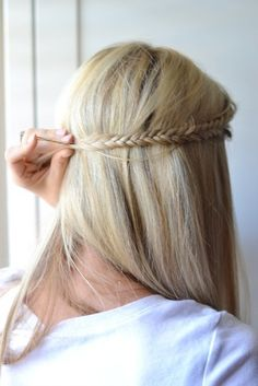 long straight hair pinned back with braid. @Amanda Snelson Snelson Bryer do you like this one?