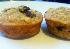 Healthy Banana Blueberry Oatmeal Muffins - No added sugars! No Flour! Uses simple ingredients you probably have on hand!  2 Cups Oats, 2 Mashed Ripe Bananas, 2/3 Cup Skim Milk,  1 Egg,  1 Tsp Baking Powder,  1 Tsp Cinnamon,  1/3 Cup Blueberries - Bake for ~25 minutes at 375 degrees.