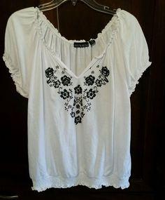 Kristin Nicole Plus 2XL S/S BOHO Peasant Tunic Top Black/White Embroidered NWOT