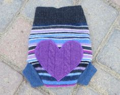 Size Newborn Upcycled Wool Soaker/Shorties/Diaper Cover with Added Doubler in Wetzone - Stripes with a Heart Applique