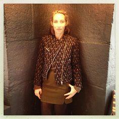 Alexandra Golovanoff et le perfecto soeur Rue Bonaparte Paris, Inspiration Mode, Boutiques, Fall Winter, Chiffon, Dresses With Sleeves, Long Sleeve, Fashion, Boutique Stores