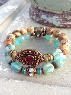 Nepalese Bracelet Stack~ Seafoam Agate~PictureJasper~Czech Glass~Brass Shield Stretch Bracelet Set ~ Vintage Stackers by Country Chic Charms