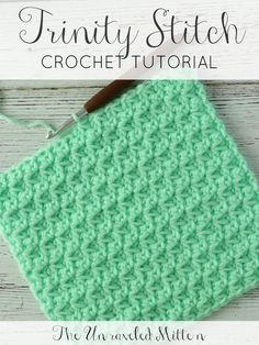 The Trinity crochet stitch is made up of clusters of single crochets that start in the same stitch the previous stitch ended. This easy stitch creates a dense textured fabric perfect for home decor, blankets, bags and more! Crochet Stitches For Blankets, Crochet For Beginners Blanket, Crochet Mittens, Crochet Dishcloths, Crochet Stitches Patterns, Crochet Hats, Crochet Pattern, Beginner Crochet, Baby Mittens