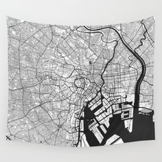 Tokyo Map Gray Wall Tapestry by City Art Posters