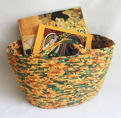 Coiled Fabric Market Garden Tote / Wrapped Clothesline Bag / Sunflower Basket by PrairieThreads
