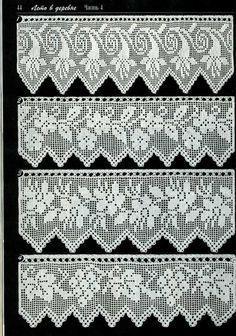Duplet 138 Four beautiful filet crochet lace edgings with floral motifs. Crochet Lace Edging, Crochet Motifs, Crochet Borders, Thread Crochet, Crochet Trim, Crochet Blanket Patterns, Crochet Doilies, Crochet Stitches, Russian Crochet