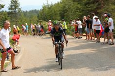 MONT VENTOUX, FRANCE - JULY 14: Nairo Quintana of Colombia and Movistar Team attacks during stage fifteen of the 2013 Tour de France, a 242.5KM road stage from Givors to Mont Ventoux, on July 14, 2013 on Mont Ventoux, France. (Photo by Bryn Lennon/Getty Images)