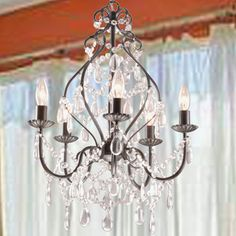Bethany 5-Light Iron and Crystal Candle Chandelier | Overstock.com Shopping - Great Deals on Chandeliers & Pendants