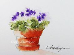 This is a print of one of my original watercolor paintings of purple African Violets in a terra cotta flower pot. The print measures 3.5 x 5. It
