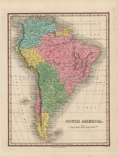 Old Map Downloads - South America Old Map Finley 1824 Digital Image Scan Download, $4.99 (http://www.oldmapdownloads.com/south-america-old-map-scan-finley-1824/)