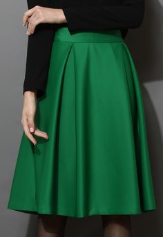 Full A-line Midi Skirt in Green - Skirt - Bottoms - Retro, Indie and Unique Fashion