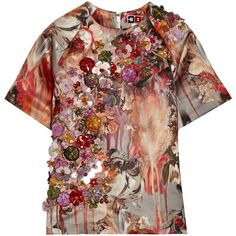 MSGM Embellished printed duchesse-satin top featuring polyvore, fashion, clothing, tops, antique rose and msgm