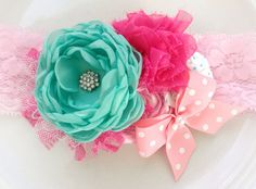 Mint and Pink Headband by JensBowdaciousBows on Etsy, $18.95