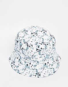 eb0da070be3 ASOS Bucket Hat In White With Triangle Print Triangle Print