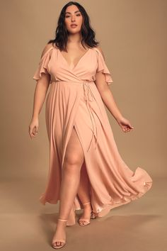 Glide across the dance floor in the Lulus Easy Listening Blush Cold-Shoulder Wrap Maxi Dress! Wrap maxi dress with cold-shoulders and off-the-shoulder sleeves. Best Prom Dress Websites, Affordable Prom Dresses, Best Prom Dresses, Prom Outfits, Blush Pink Maxi Dress, Women's Dresses, Spring Bridesmaid Dresses, Modelos Plus Size, Engagement Dresses