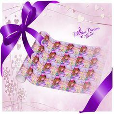 Carousel Dreams Pink Heart Valentine Gift Wrapping Paper by #MoonDreamsMusic #GiftWrap #WrappingPaper #CarouselDreams #PinkHeart #ValentinesDay