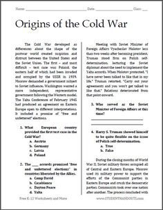 Origins of the Cold War   Free printable reading with questions (PDF file) for high school American History teachers and students.
