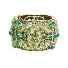 Chanel 2010 Green Enamel Paris/Shanghai Cuff Bracelet w CCs crt.$4,125 | From a unique collection of vintage bangles at https://www.1stdibs.com/jewelry/bracelets/bangles/