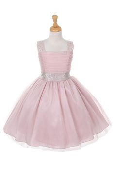 Flower Girl Dress Style 1195 - BUBBLE PINK Tulle Dress with Rhinestone - Flower Girl Dress For Less