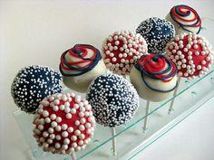 fourth of july cake pops Blue Cake Pops, Blue Cakes, 4th Of July Cake, Happy Fourth Of July, July 4th, Chocolates, Cake Bites, Mini Cakes, Cupcake Cookies