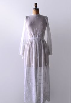 1960's Everlasting Lace Dress / White Crochet -- Ultimate Boho Wedding Dress