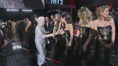 The Queen and the Duke of Edinburgh meet all the acts who took part in The Royal Variety Performance including 1D, Girls Aloud and David Walliams. .