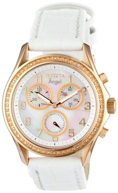 Invicta Women's 0582 Angel Collection Chronograph Diamond Accented White Leather Watch.  Bringing you the best luxury watches online at the most affordable prices for premium brand name watches: http://www.bestwatches1st.com/#!invicta-angel-watch-collection/kb04e