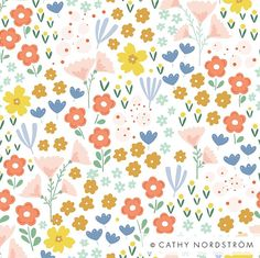 Cathy Nordstrom is a surface pattern designer based in Stockholm. I'm sure anyone interested in beautiful florals, wonderful colour palet. Flower Patterns, Print Patterns, Book Projects, Floral Illustrations, Surface Pattern Design, Kids Prints, Repeating Patterns, Background Patterns, Flower Prints
