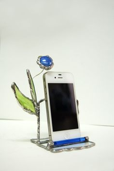 Glass iPhone Stand Smartphone Stand Stained Glass by SophieRR, $33.00