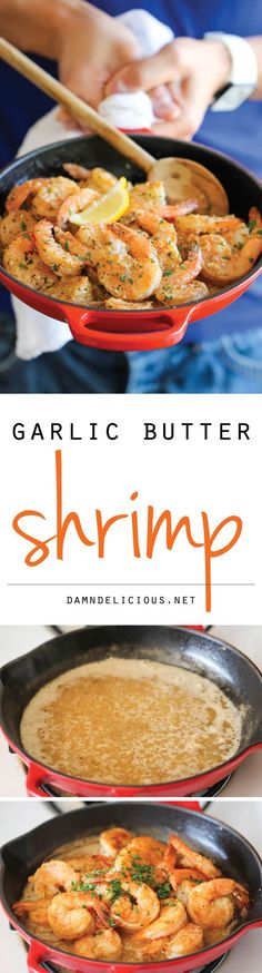 Garlic Butter Shrimp - An amazing flavor combination of garlicky, buttery goodness - so elegant and easy to make in 20 min or less.