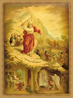 "Poster ""Moses and 2 tablets of the Testimony"" Catholic Religion, Catholic Art, Religious Images, Religious Art, Lord Is My Shepherd, Biblical Art, Art Base, Sacred Art, Christian Art"