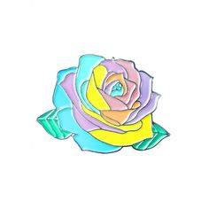 Krystan Saint Cat Pastel Rainbow Rose Pin ($10) ❤ liked on Polyvore featuring jewelry, brooches, pastel jewelry, rose jewellery, pin brooch, rose jewelry and pin jewelry