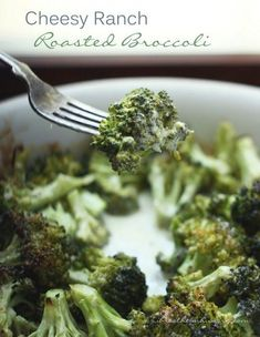 Cheesy Ranch Roasted Broccoli An easy and family friendly side dish recipe that is low carb, gluten free, keto, lchf, and Atkins diet friendly!