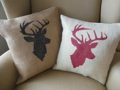 Rustic Holiday Red Burlap Deer Pillow Cover /  by TheRusticTwigUS