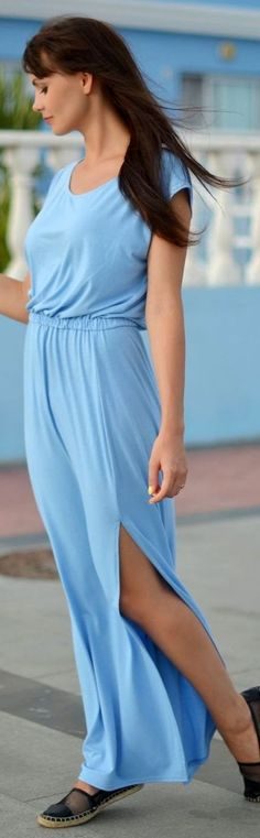 Preska Blue Cotton Split Maxi Tank Dress I like this dress. I would buy acouple in my personal colors. Provided it was in cotton, so many knits are polyester these days, it's cheap and pills and is short lived.