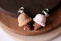 Strawberry/ Chocolate ice cream charm handmade with polymer clay polymer clay necklace miniature food jewelry cute necklaces, cute charms