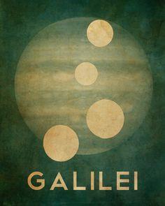 Galileo Galilei 8x10  - Rock Star Cosmic Pioneer Fine Art Astronomer Poster Print - Moons of Jupiter. $18.00, via Etsy.