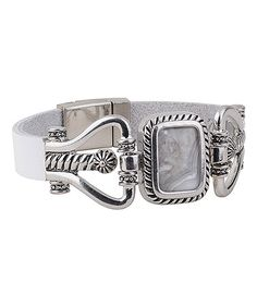 Another great find on #zulily! White Leather Magnetic Rectangular Gem Bracelet #zulilyfinds