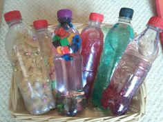 Playful Learners: Sensory Activities for Babies and Toddlers.  Please make sure the lid is taped closed.  Be careful with what type of bottles you use.  Some may be thin and squish with the possibility to leak.