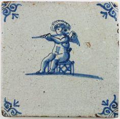 Dutch Delft tile portraying Cupid (Amor) playing a flute, century Art Deco Diamond, Diamond Brooch, Delft Tiles, Antique Tiles, Portuguese Tiles, Friend Tattoos, British Museum, Belle Epoque, Cupid