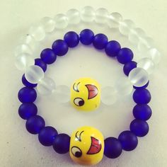Siguenos Instagram & Facebook #zowiecreations #bracelets #pulseras #matte #mattebeads #emoji #blue ##azul #handmade #jewerly #pr