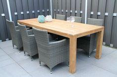 Hartman Picasso tuintafel + Colorado dining. Mooie goedkope tuinset met wicker tuinstoelen en teak tuintafel