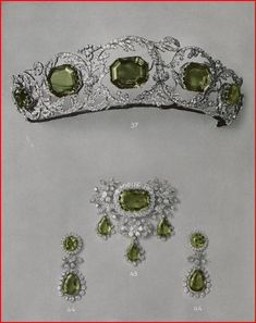 a close up of the tiara, showing the five, eight-sided peridots set within diamond floral scrolls