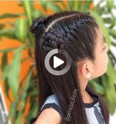 Peinados - Nail Effect Baby Girl Hairstyles, Cool Braid Hairstyles, Easy Hairstyles For Long Hair, Baddie Hairstyles, Braids For Long Hair, Curly Hairstyles, 1980s Hairstyles, Updo Curly, Toddler Hairstyles