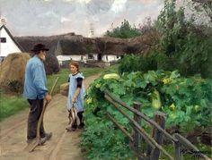 Hans Andersen Brendekilde – my daily art display Country Art, The Kingdom Of God, Artist Art, Farm Life, Garden Art, Art For Kids, Art Children, Illustrators, Fine Art